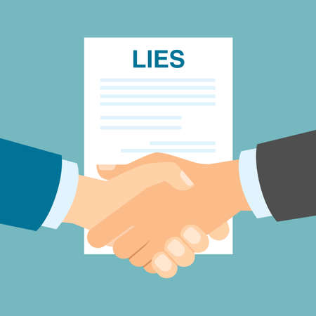 swindler: Lies contract handshake. Concept of two businessman who are hypocrite, swindler and lier. Unfair deal.