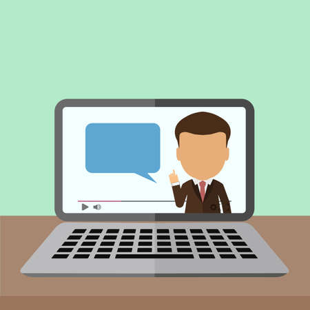 consultant: Business webinar consultant. Concept of distant online learning, conference and consultation. Office working.
