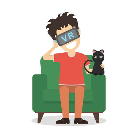 Isolated vr man. Young smiling man using vr glasses sits on armchair with black cat. Home entertainment. Augmented reality, new technologies. Video game or 3D film. Illustration