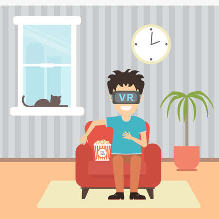 home entertainment: Isolated vr man. Young smiling man using vr glasses sits on armchair with popcorn on white background. Home entertainment. Augmented reality, new technologies. 3D film. Illustration