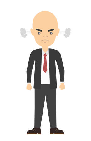 stereotype: Isolated angry bald businessman. Stereotype of angry clerk. Full of stress and anger.