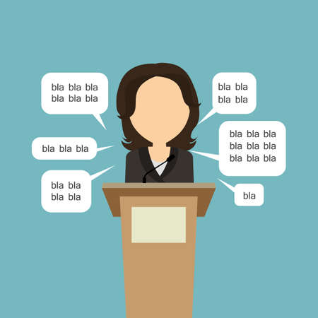 to lie: Blah blah politician. Concept of lie on debates or president election. Blank template face with speech bubbles. Woman speaker. Illustration