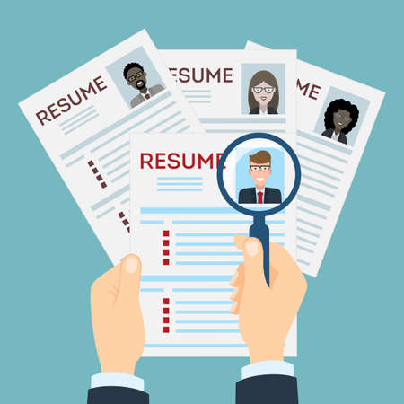new opportunity: woman resume with magnifier at the table. Cv resume concept. Finding a worker. Apply for a job. Business opportunity. Cv profile. Finding new staff.