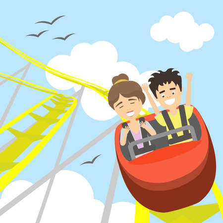 coaster: Rollercoaster in amusement park. Young smiling man and woman have fun on the roller coaster. Scary but funny entertainment.