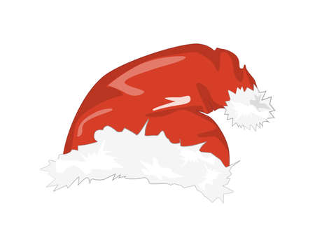 white fur: Isolated Santa hat. Symbol of Christmas and New Year. Santa Claus clothes element. Red hat with white fur.