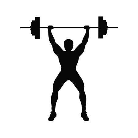 Man doing weight lifting. Isolated black silhouette of a man doing weight lifting on white background. Healthy lifestyle.