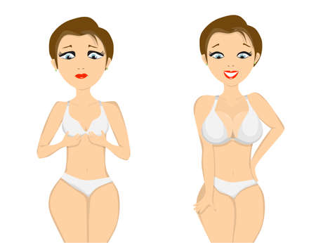 big breast: girl before and after breast augmentation on white background