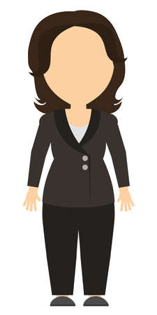 consultant: Isolated cartoon businesswoman. White background. Consultant, colleague, office worker or boss and more. Template blank face. Illustration