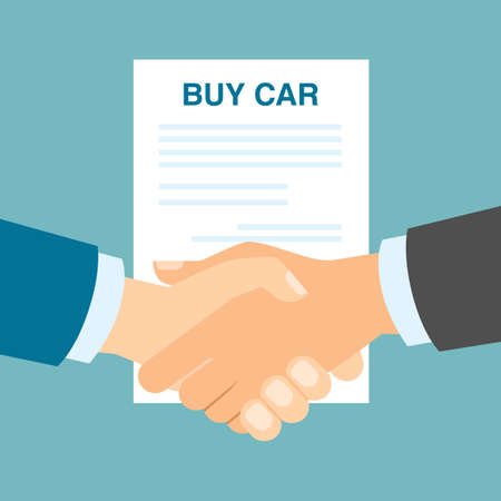 agency agreement: Buy car contract handshake. Men shaking hands in agreement about buying car. Agency selling cars.
