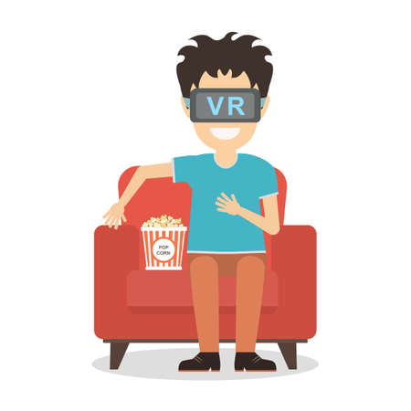new technologies: Isolated vr man. Young smiling man using vr glasses sits on armchair with popcorn on white background. Augmented reality, new technologies. 3D film.