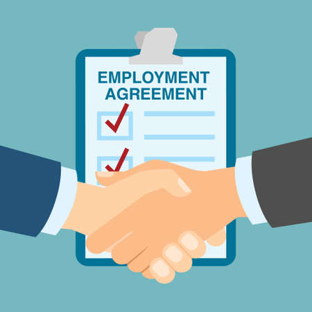 candidates: Employment agreement handshake. Hiring new employee and staff and making agreement. Finding new candidates.