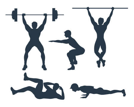 ups: Set of exercises. Black silhouette of a man doing gym exercises like lifting weights, pull ups, crunches, squats and plank. Healthy lifestyle. Illustration