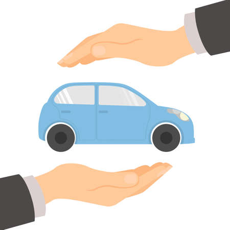 protection hands: Car insurance concept. Insurance company. Guaranty of preservation, repair and protection. Illustration