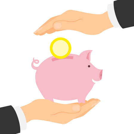 earnings: Piggy bank protection. Safety of savings and earnings. Hands palm protect pink piggybank with golden coin.