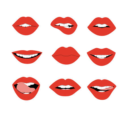 expresion corporal: Los labios rojos establecidos en el fondo blanco. Labios rojos atractivos y glamour para la expresión corporal. Concepto de vacaciones romántica o San Valentín.