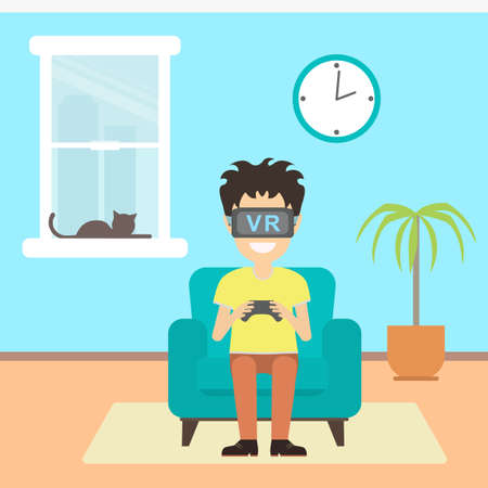 home entertainment: Isolated vr man. Young smiling teen boy or adult man using vr glasses sits on armchair with gamepad. Home entertainment. Augmented reality, new technologies. Video game. Illustration