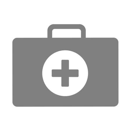 clinical: First aid kit icon, Grey medical case as clinical equipment.