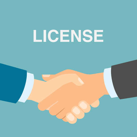 patent: License safety handshake. Men shacking hands for insurance of license, patent from copyriting.