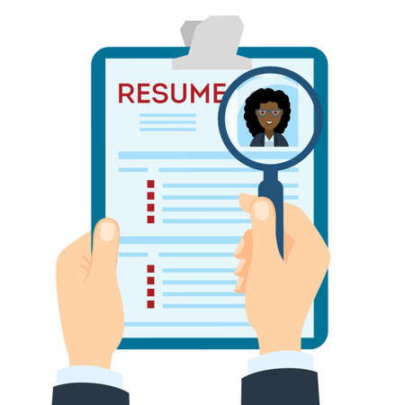 job opportunity: woman resume with magnifier at the table. Cv resume concept. Finding a worker. Apply for a job. Business opportunity. Cv profile.