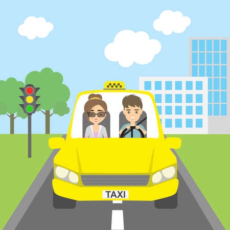 chauffeur: Taxi driver with passenger. Smiling people in yellow cab. Riding on the city street. Yellow car for urban service. Illustration