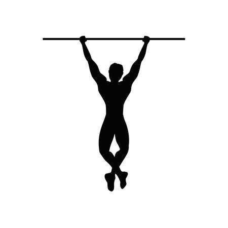 pull: Man doing pull ups. Isolated black silhouette of a man doing pull up on white background. Healthy lifestyle.