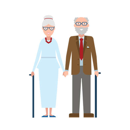 Cute old couple. Grandpa and grandma on white background. Happy couple together.