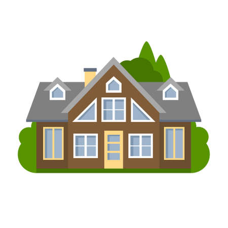 suburban house: Isolated brown house. Simple suburban house. Concept of real estate, property and ownership. Illustration