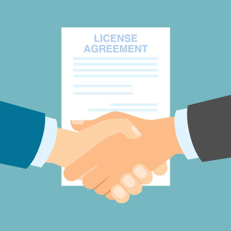 attribution: License agreement handshake. Men shacking hands for insurance of license, patent from copyriting.