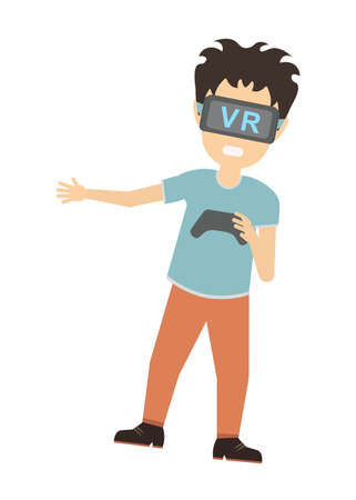 3d film: Man in vr. Teen boy or adult man in vr glasses standing on white background with gamepad. Augmented reality and cyberspace. Video game or 3D film.
