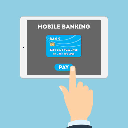 mobile banking: Mobile banking concept. Easy transaction with mobile banking. Credit card in tablet. Payment through internet. Illustration