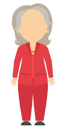 colleague: Isolated cartoon old businesswoman. White background. Consultant, colleague, office worker or boss and more. Template blank face. Grey hair and red suit.
