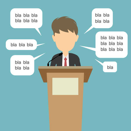 campaign promises: Blah blah politician. Concept of lie on debates or president election. Blank template face with speech bubbles. Male speaker.