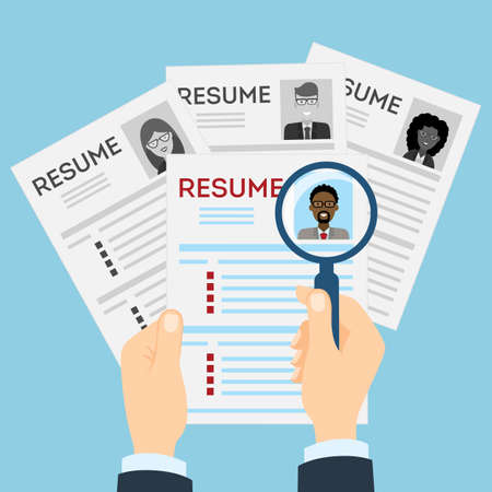 new opportunity: Resumes with magnifier at the table. Cv resume concept. Finding a worker. Apply for a job. Business opportunity. Cv profile. Finding new staff.