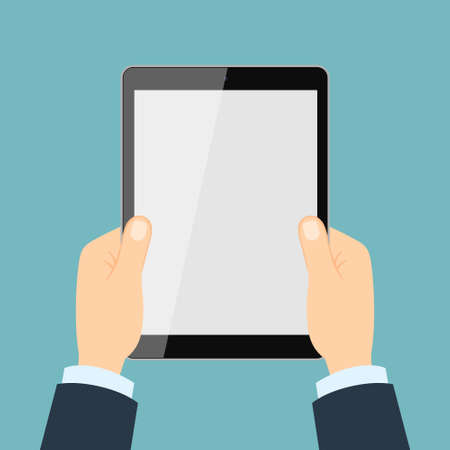 touching: Hand touching tablet. White tablet with blank template screen. Illustration
