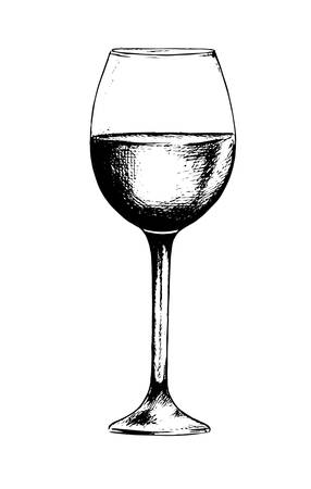 Isolated champagne glass. Black and white etching wine glass for decoration. Elegant tableware. Illustration