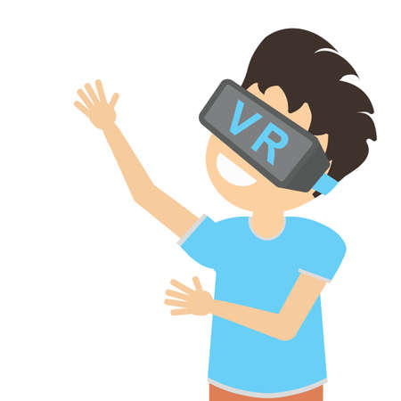 3d film: Man in vr. Teen boy or adult man in vr glasses standing on white background. Augmented reality and cyberspace. Video game or 3D film.