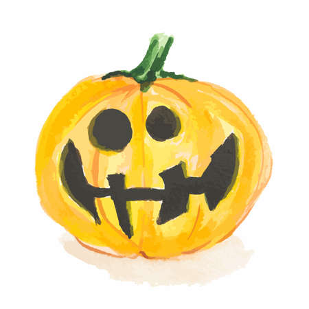 Watercolor scary pumpkin. Spooky face for Halloween. October festival. Harvest fest.