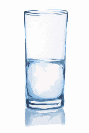 optimism: Watercolor water glass. Isolated half full half empty glass with fresh and pure water. Healthy beverage. Optimism or pessimism. Illustration