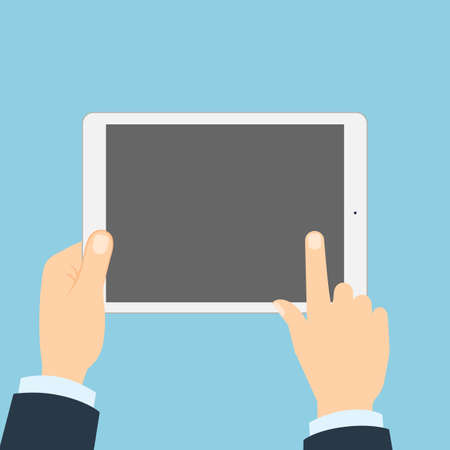 touching: Hand touching tablet. White tablet with blank template screen. Finger touching screen. Illustration