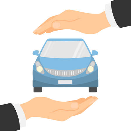 safely: Car insurance concept. Insurance company. Guaranty of preservation, repair and protection. Illustration
