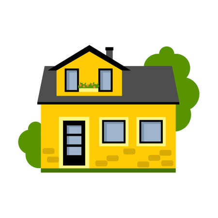 suburban house: Isolated yellow house. Simple suburban house. Concept of real estate, property and ownership.