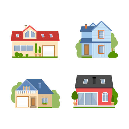 suburban house: Isolated house set. Simple suburban house. Concept of real estate, property and ownership. Four different colorful houses.