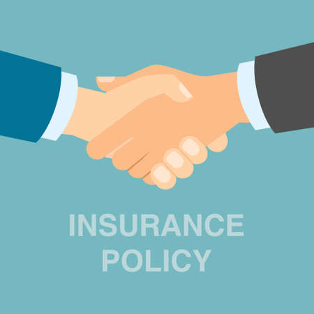 insurance policy: Insurance policy concept. Protection from risks and damages conneccted with finance, health or property. Illustration