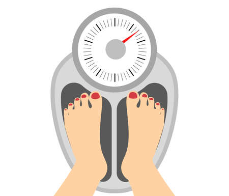 toes: Woman standing on weight. Concept of diet and obesity. Keep healthy lifestyle. Female legs with red toes. Fat control.