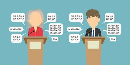 Political debates or speeches at the conference. Two speakers with speech bubbles and bla bla words. Luying on elecrion concept. Stock Illustratie