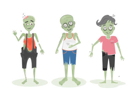 ghoulish: Isolated scary zombie set. Green zombies with brain, bone and spit. Scary reanimated monster for halloween decoration.