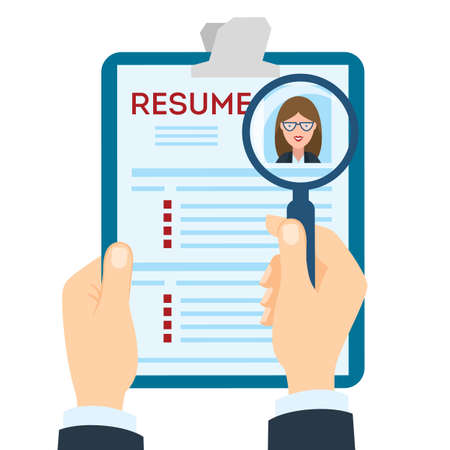 Woman Resume With Magnifier At The Table. Cv Resume Concept. Finding A  Worker.  Finding Resumes