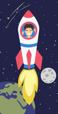 exploration: Man flying in rocket in outer space. Earth and moon. Funny smiling man flying inside spaceship. Concept of Exploration and development.