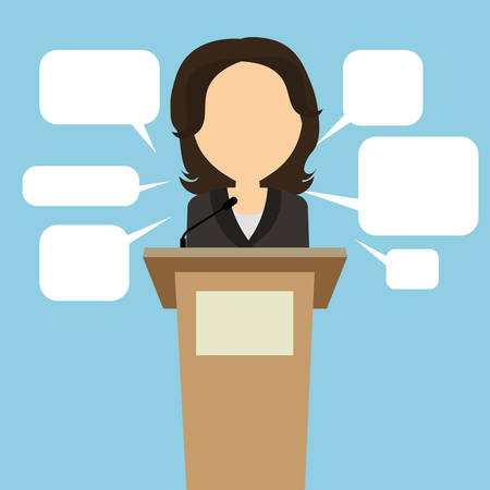 narrator: Female speaker with speech bubbles. Concept of debates, seminar or election. Politician speaker with podium.