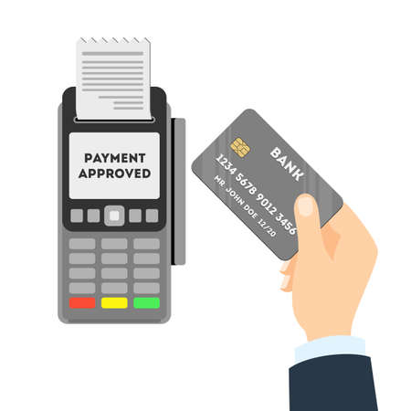 Payment approved concept. Credit card with pos. Man paying with credit card.